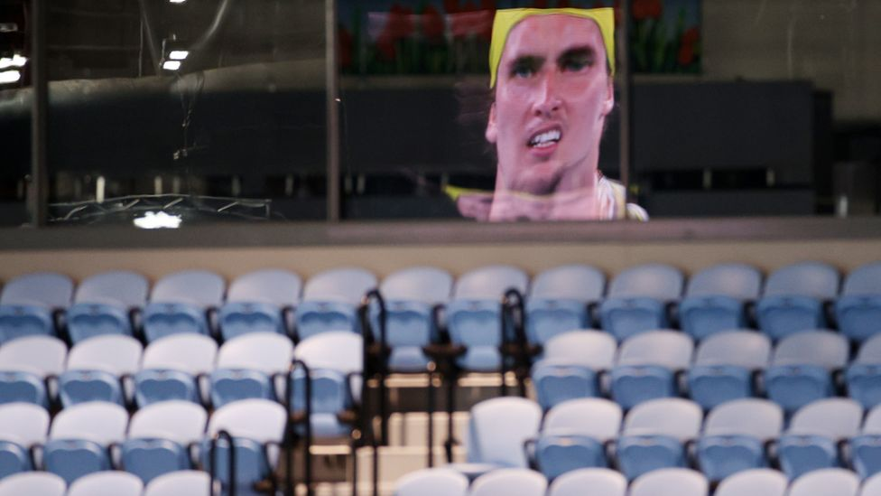 An empty spectator stand at an Australian Open match