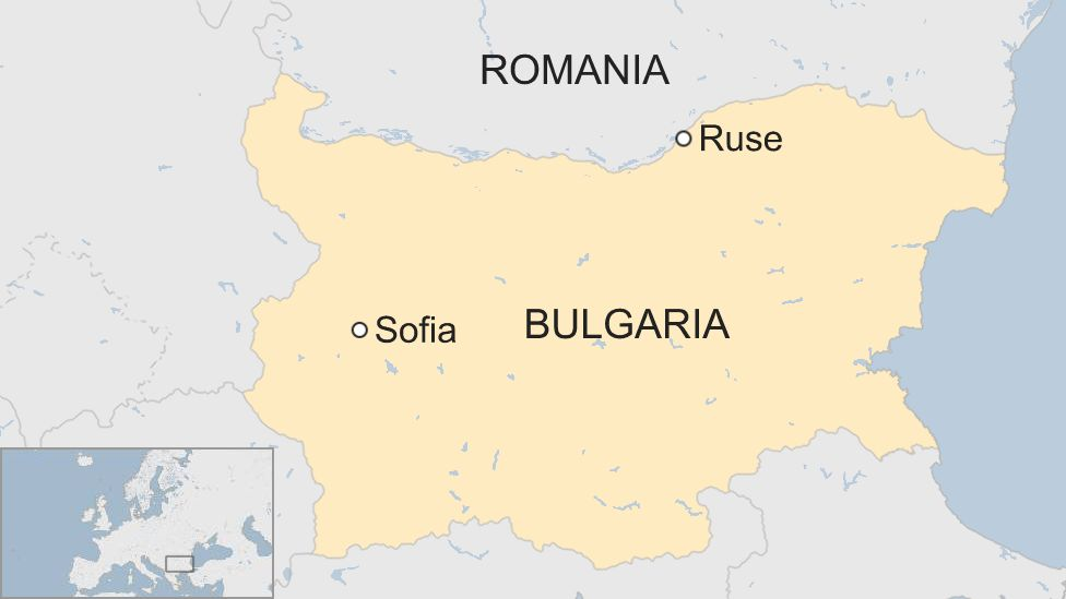 A map showing where Ruse is in Bulgaria
