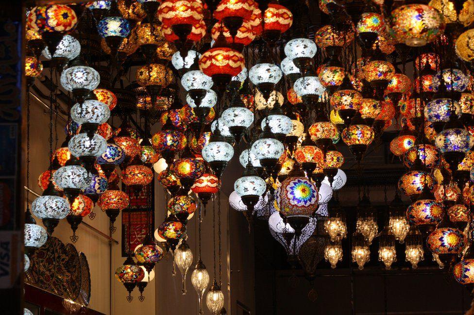 Moroccan lanterns in a souk