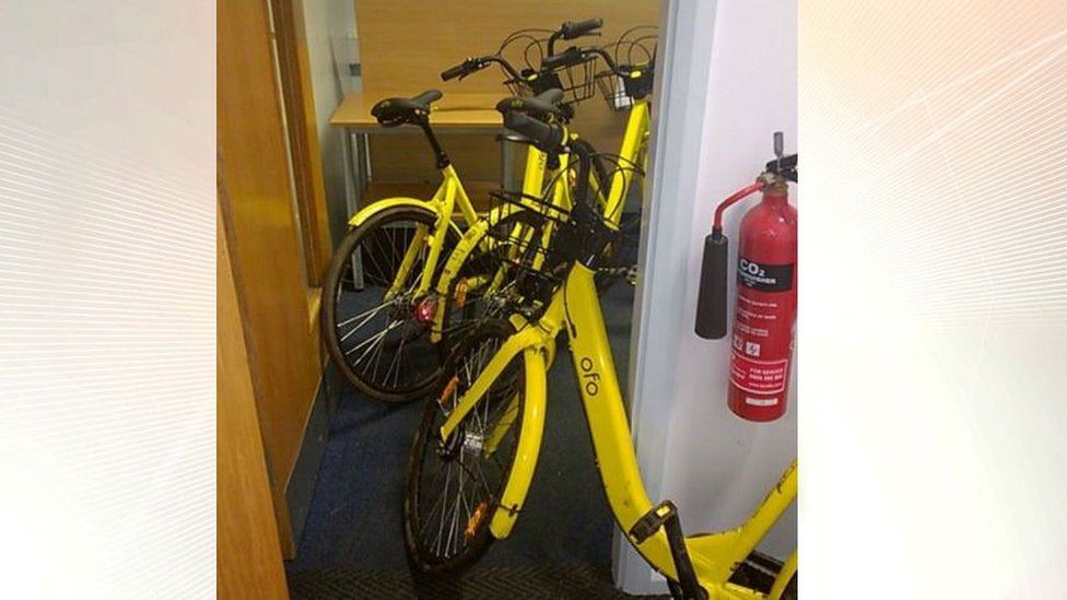 Ofo bikes collected by South Yorkshire Police