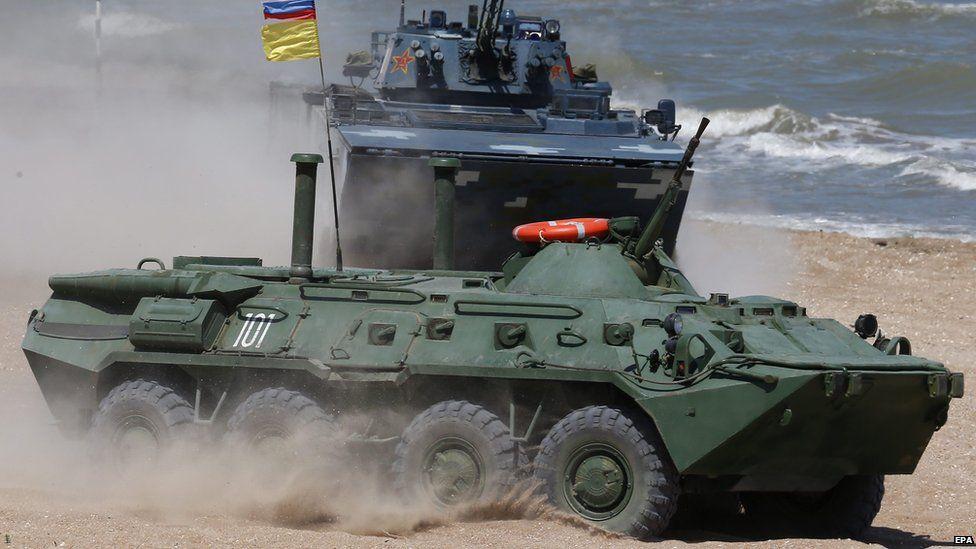 Russian BTR-80 (front) seen here in war games in Kaspiysk, Russia, 05 August 2015