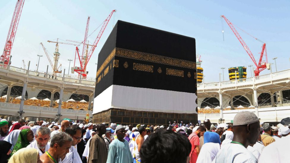 Muslim pilgrims walk around the Kaaba, the cubic building at the Grand Mosque in the Muslim holy city of Mecca, Saudi Arabia - 12 September 2015