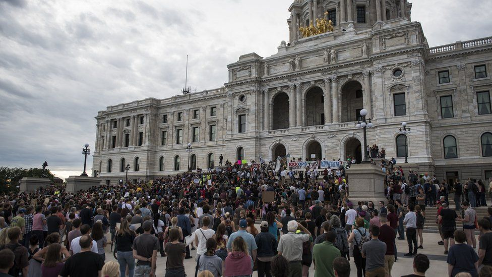 Protestors pack the steps of the Minnesota State Capitol building