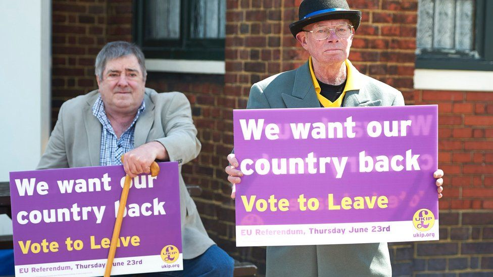 UKIP supporters holding Leave placards