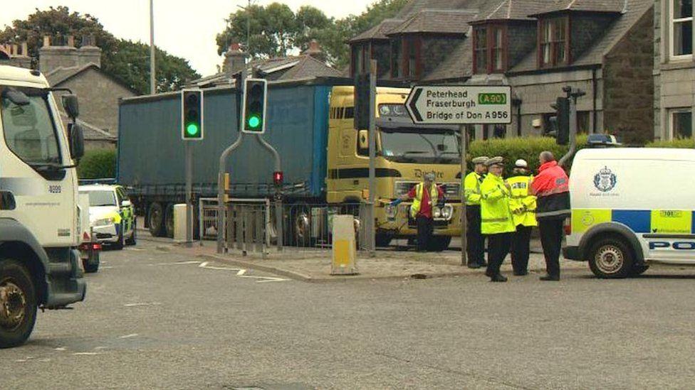 Lorry crash scene