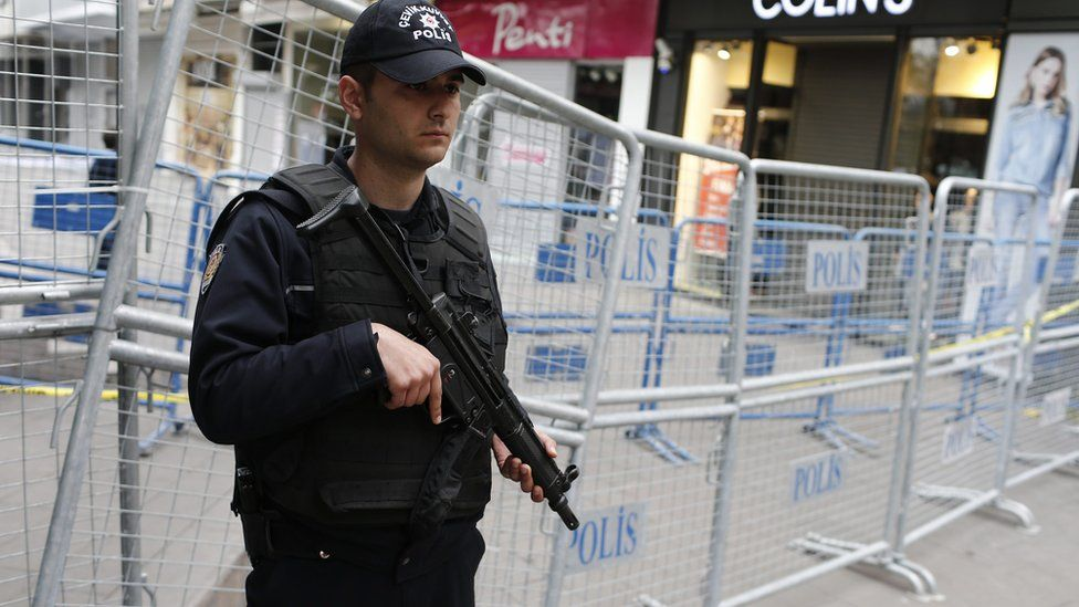 Turkish police at scene of bomb attack in Ankara. 14 March 2016