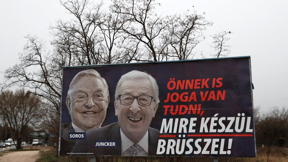 """A government billboard is seen in Budapest, Hungary, March 13, 2019. The billboard reads, """"You also have the right to know what Brussels is up to"""","""
