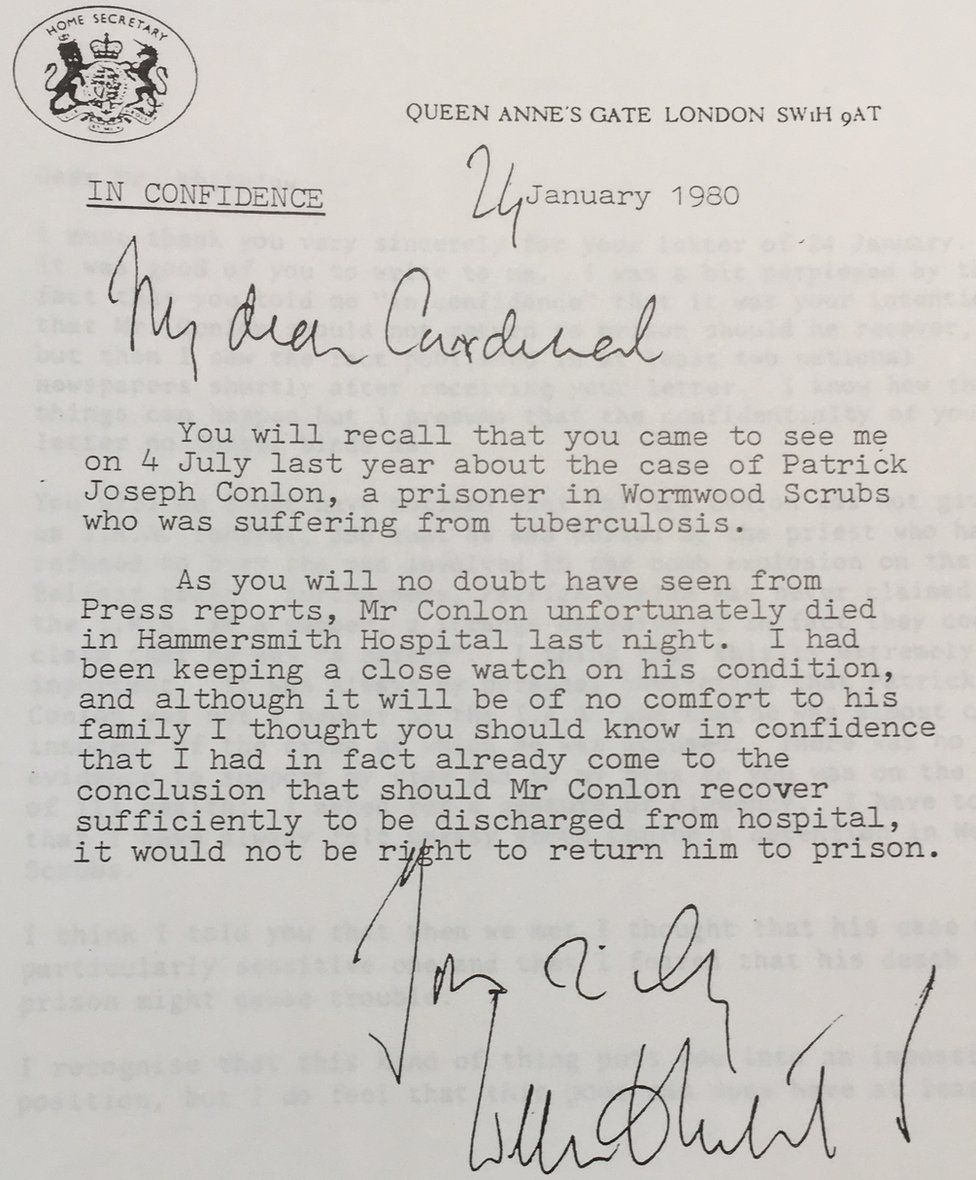 Letter from William Whitelaw to Cardinal Basil Hume on 24 January 1980