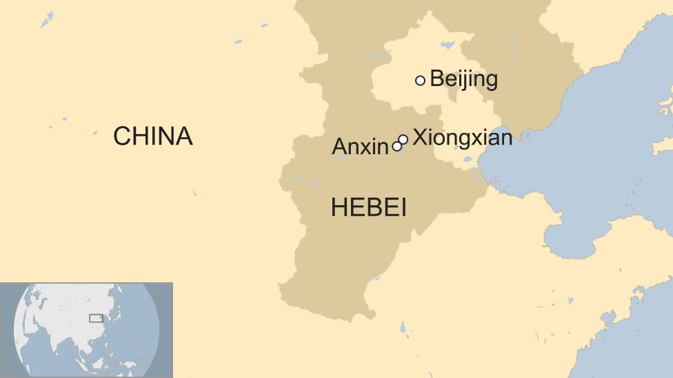 Map of Xiongxian and Anxin in Hebei province in China