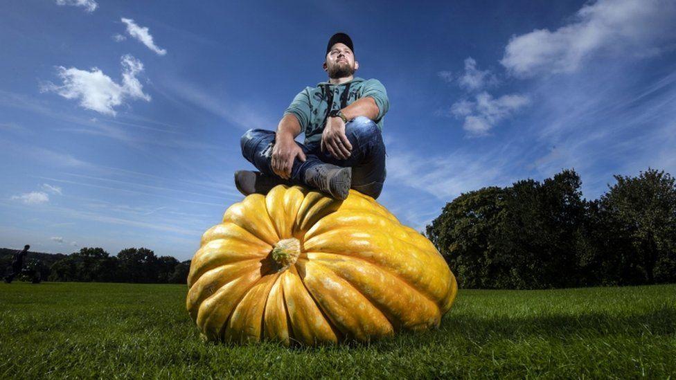Richard Mann with his winning giant pumpkin
