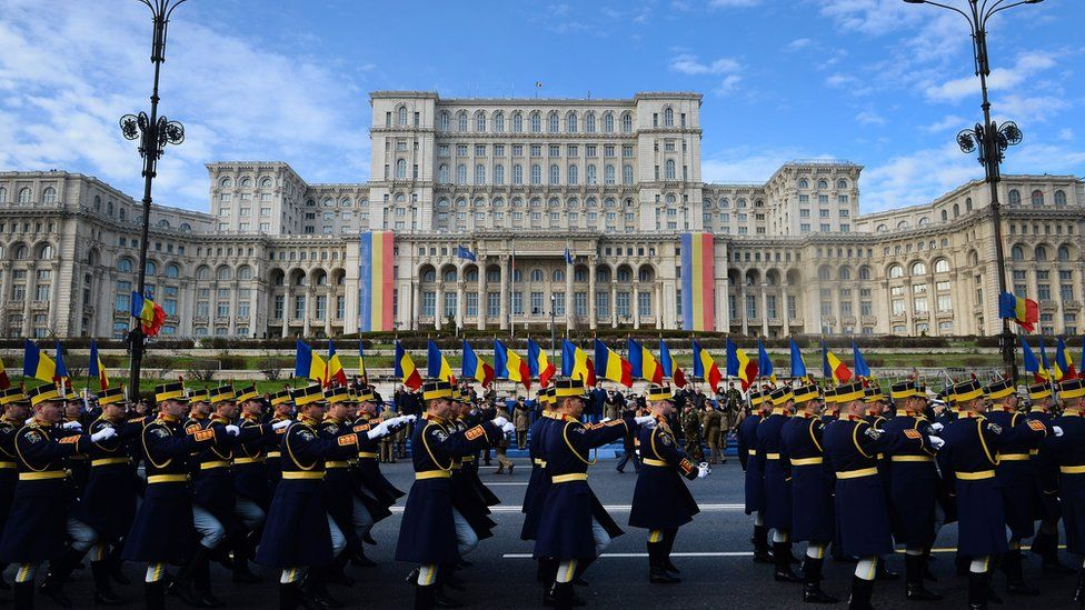 National Day parade past the Palace of the Parliament in Bucharest