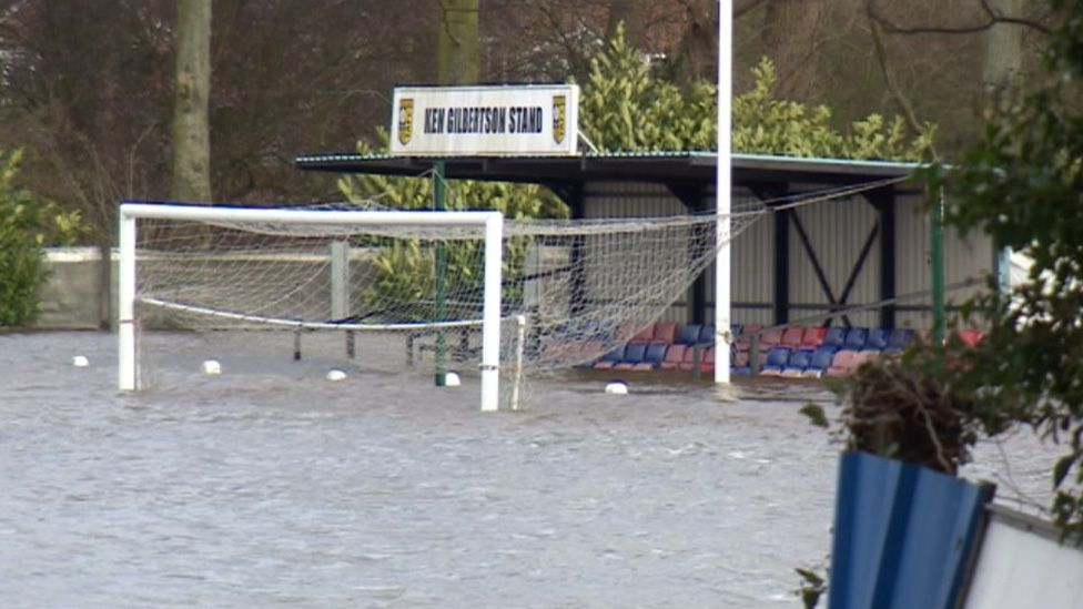 Flooded football pitch