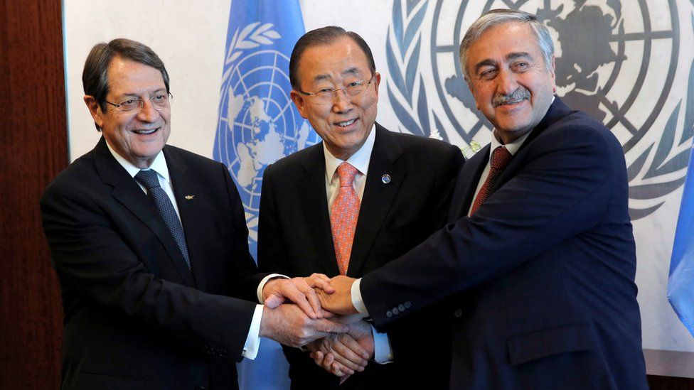 """Cyprus"""" President Nicos Anastasiades and Turkish Cypriot leader Mustafa Akinci attend a meeting with United Nations Secretary-General Ban Ki-moon at the United Nations in Manhattan, New York, U.S., September 25, 2016."""