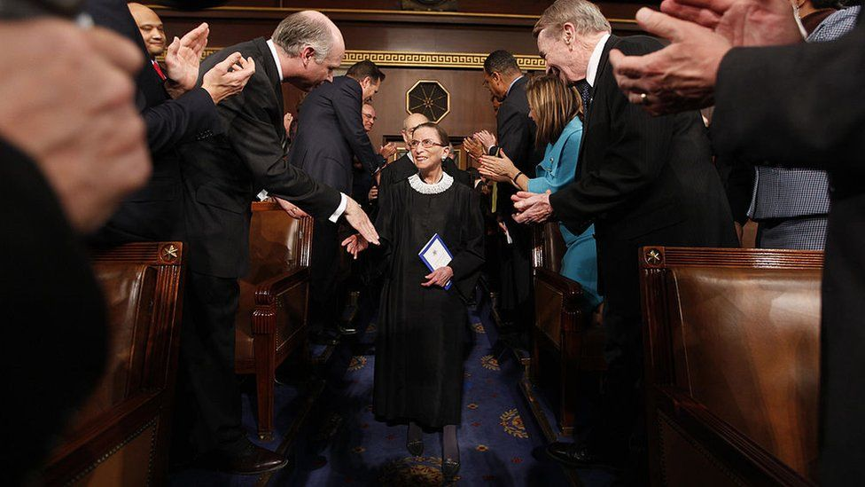Ruth Bader Ginsburg arrives for President Barack Obama's address to a joint session of Congress in the House Chamber of the Capitol in Washington, 24 February 2009