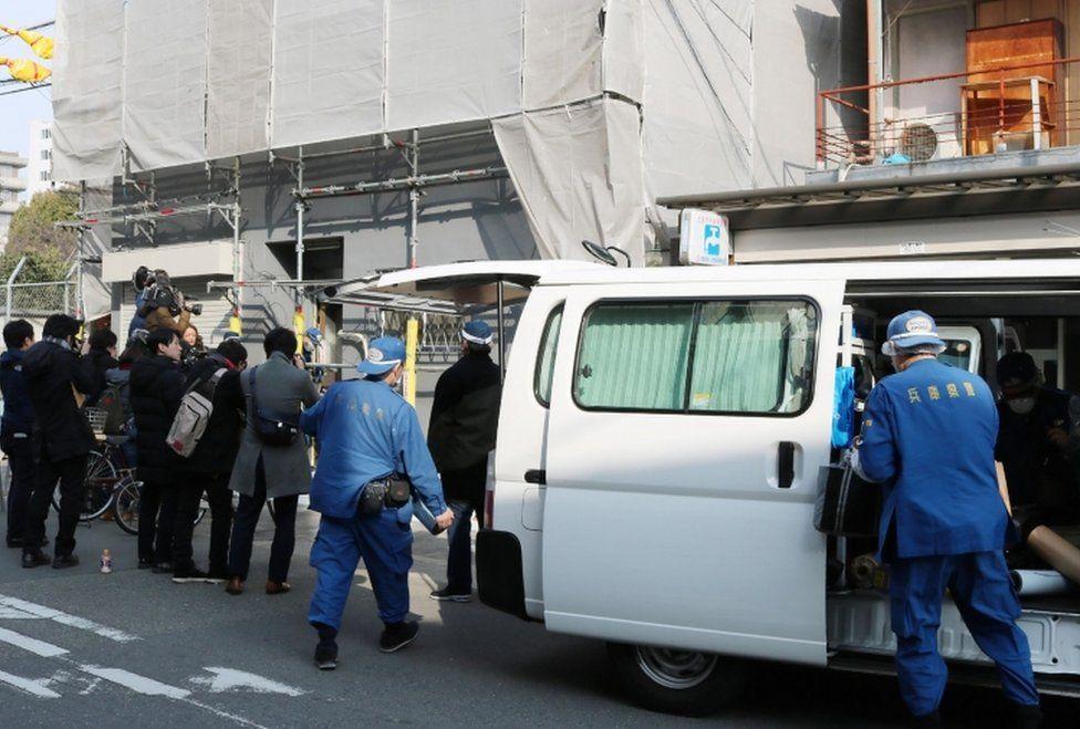 Hyogo prefectural police are pictured at the scene
