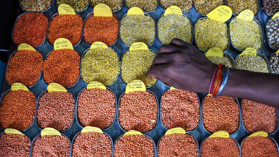 Pulses for sale on stall