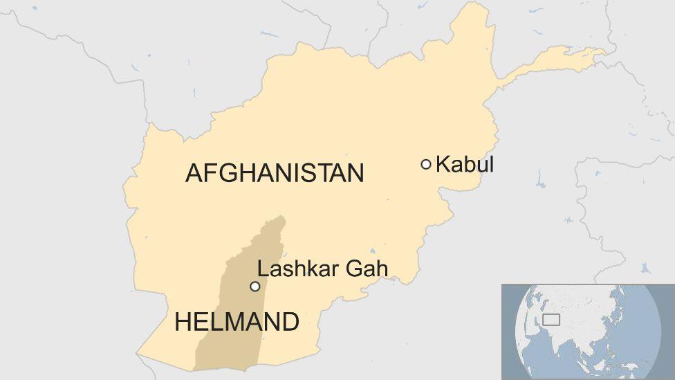 Map of Afghanistan, Helmand and Lashkar Gah