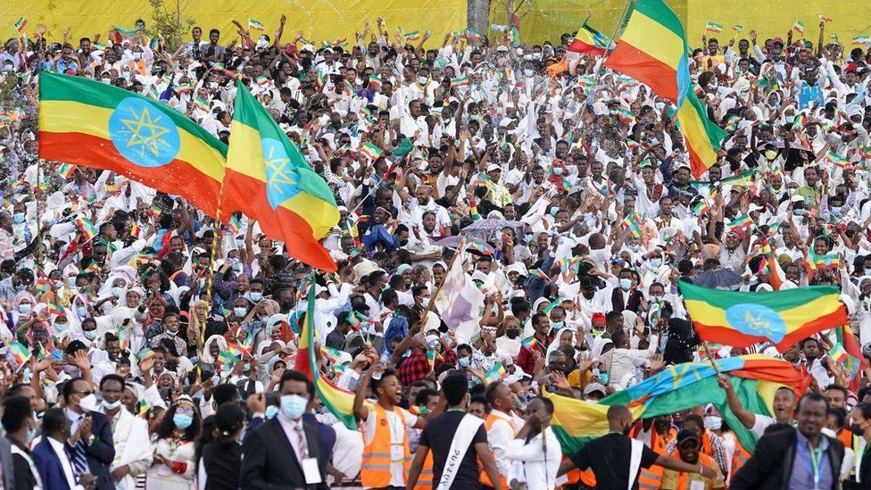 Large crowd of Ethiopians celebrating with some people carrying giant Ethiopia flags. The people in the crowd look jubilant and excited.