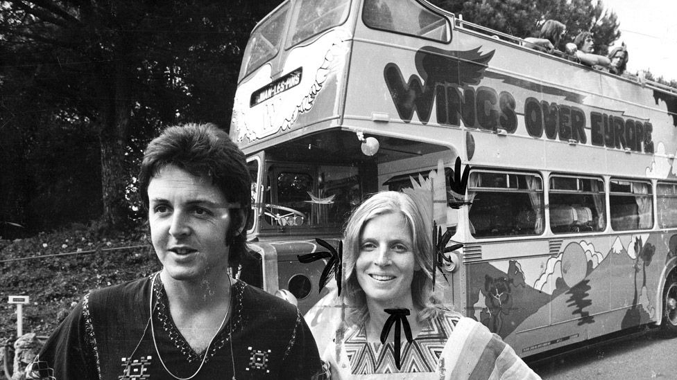 Paul and Linda McCartney with the Wings Over Europe bus