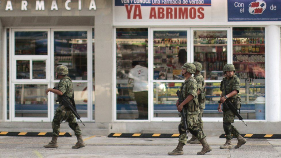 Mexican soldiers patrolling the coastal city of Acapulco