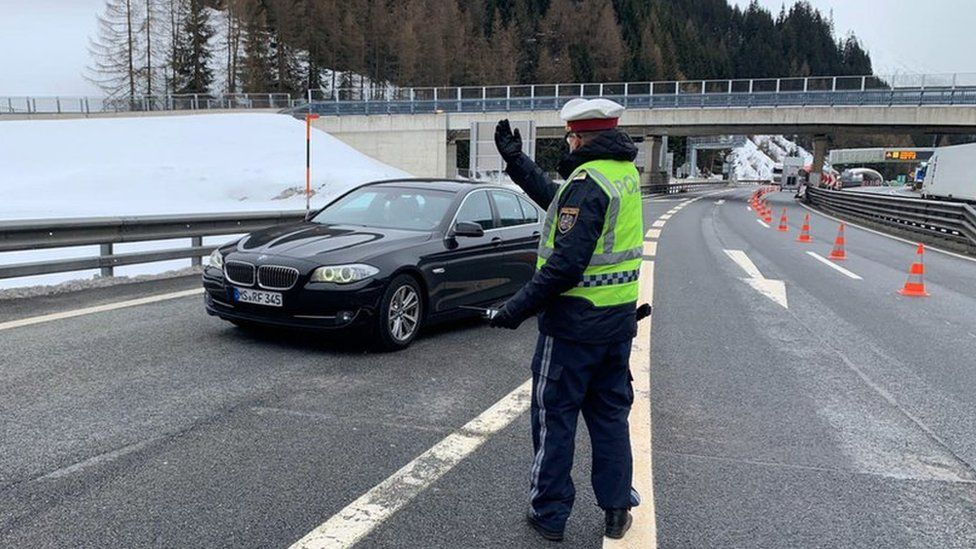 Health check at the Brenner Pass, the border between Italy and Austria, 10 March 2020