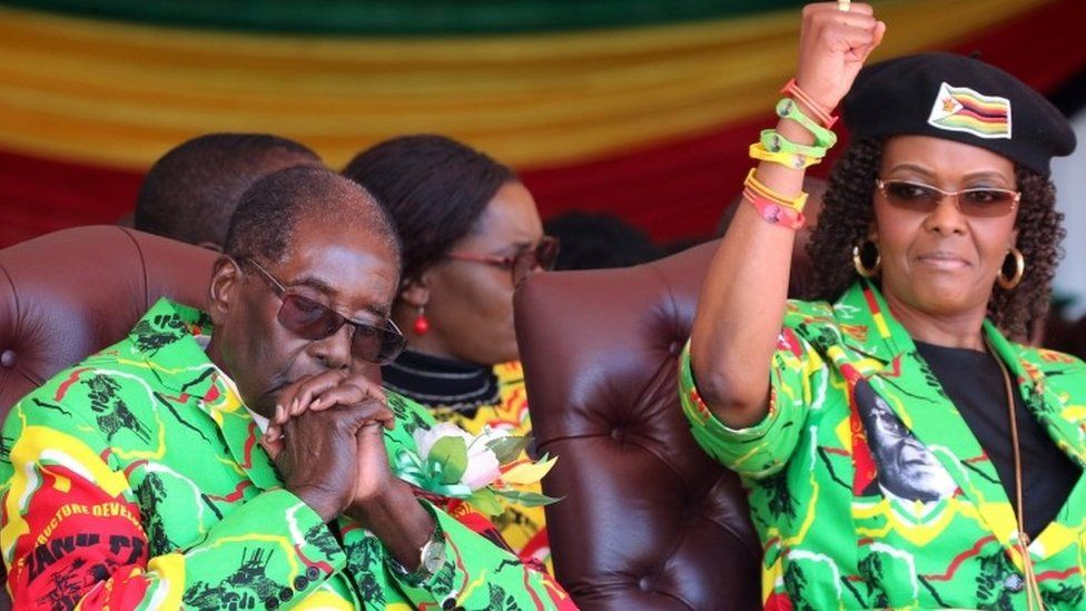 Zimbabwean President Robert Mugabe and his wife Grace attend a rally in Marondera, Zimbabwe, June 2, 2017.