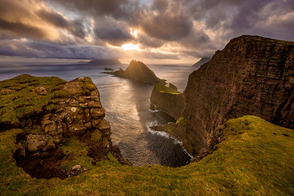 A view of cliffs on the Faroe Islands