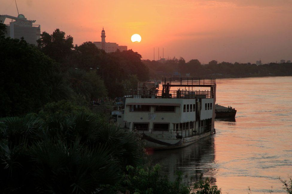 A view of the Blue Nile river waterfront in the north of Sudan's capital Khartoum at sunset.