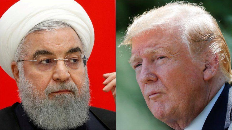 Hassan Rouhani and Donald Trump