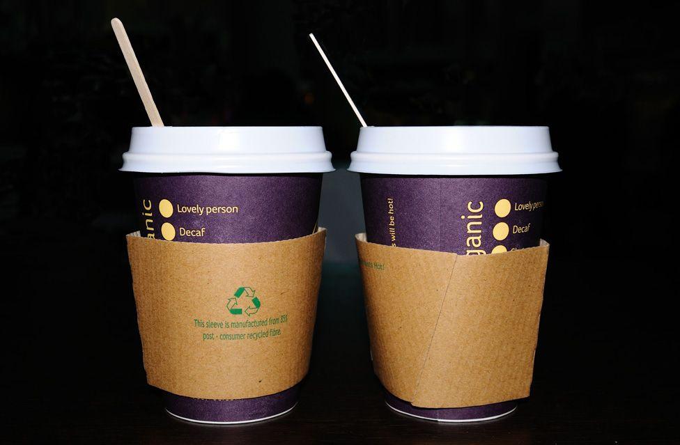 Two takeaway coffee cups