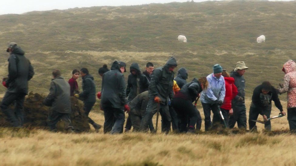 the team of archaeologists on site at Waun Mawn