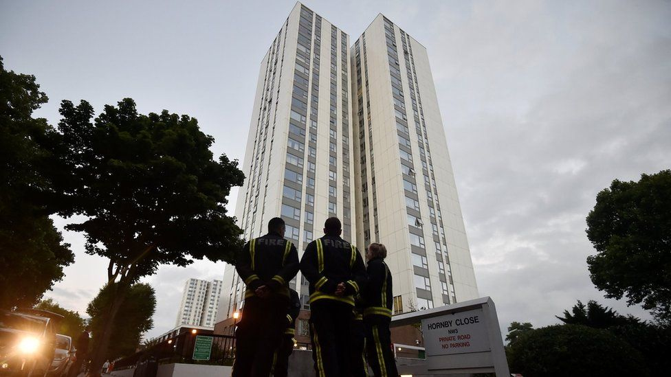 Firefighters outside a tower block
