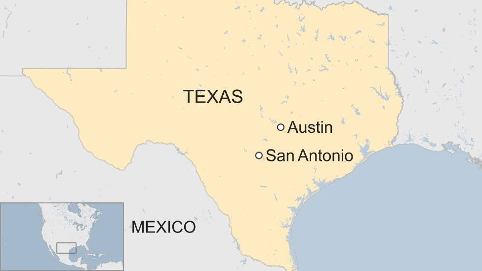 A ma showing where San Antonio is in the US