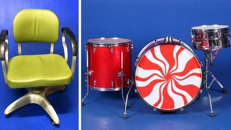The green chair and White Stripes drum kit