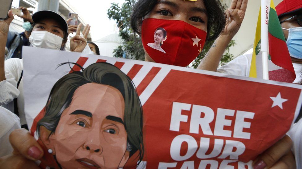 Protesters in Myanmar