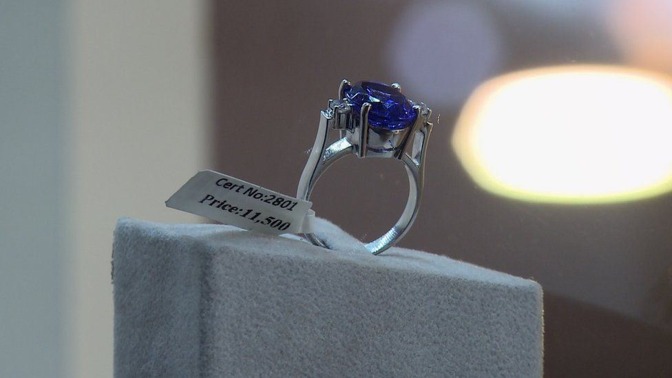 A Tanzanite stone on a ring