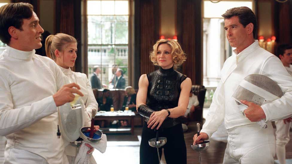 Toby Stephens, Rosamund Pike, Madonna and Pierce Brosnan in Die Another Day