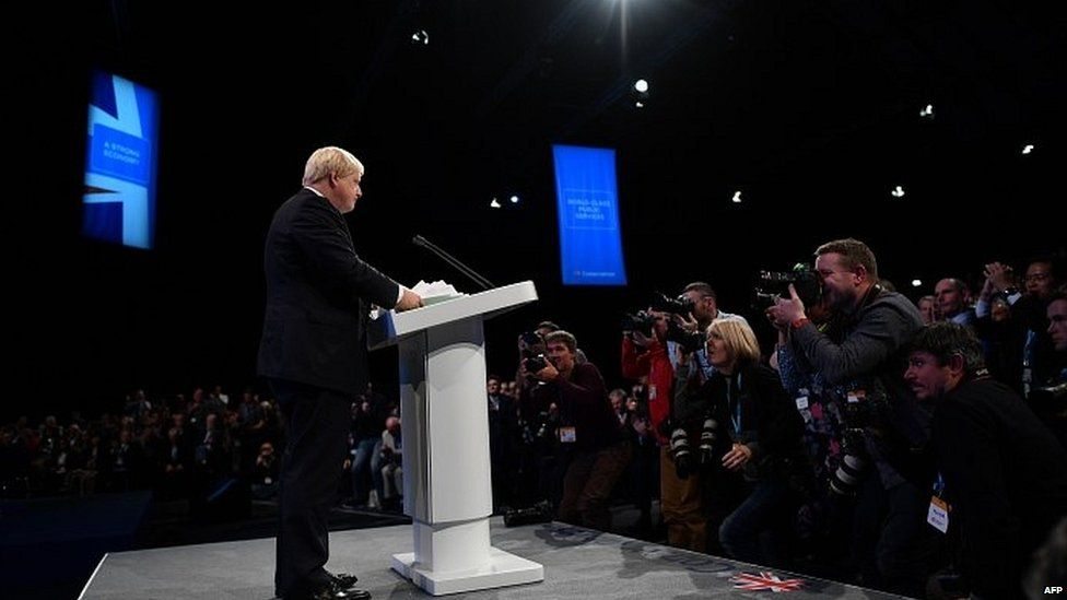 Foreign Secretary Boris Johnson speaking at the Conservative conference