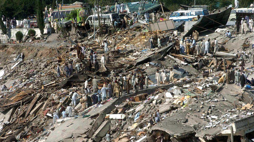 Destroyed Balakot town on 10 October 2005