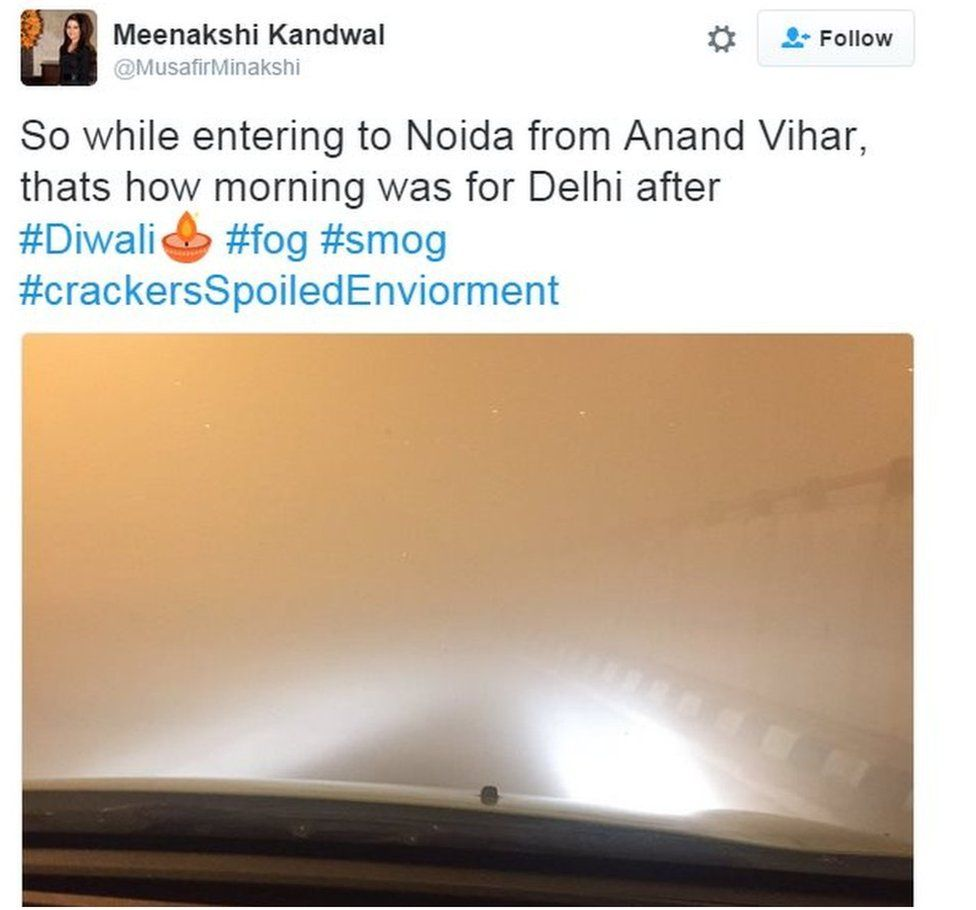 So while entering to Noida from Anand Vihar, thats how morning was for Delhi after #Diwali #fog #smog #crackersSpoiledEnviorment