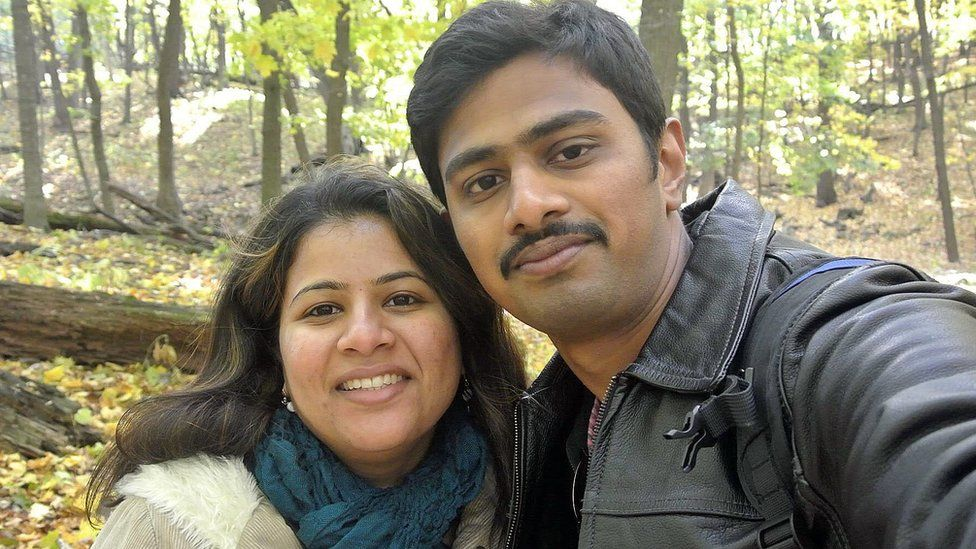 Srinivas Kuchibhotla, right, poses for photo with his wife Sunayana Dumala in Cedar Rapids, Iowa