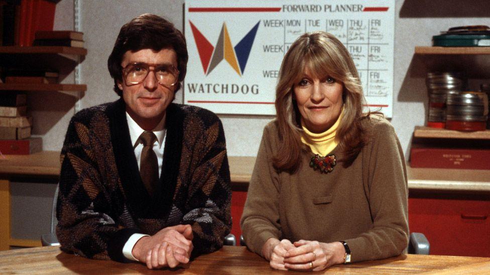 John Stapleton and Lynn Faulds Wood on Watchdog in 1988