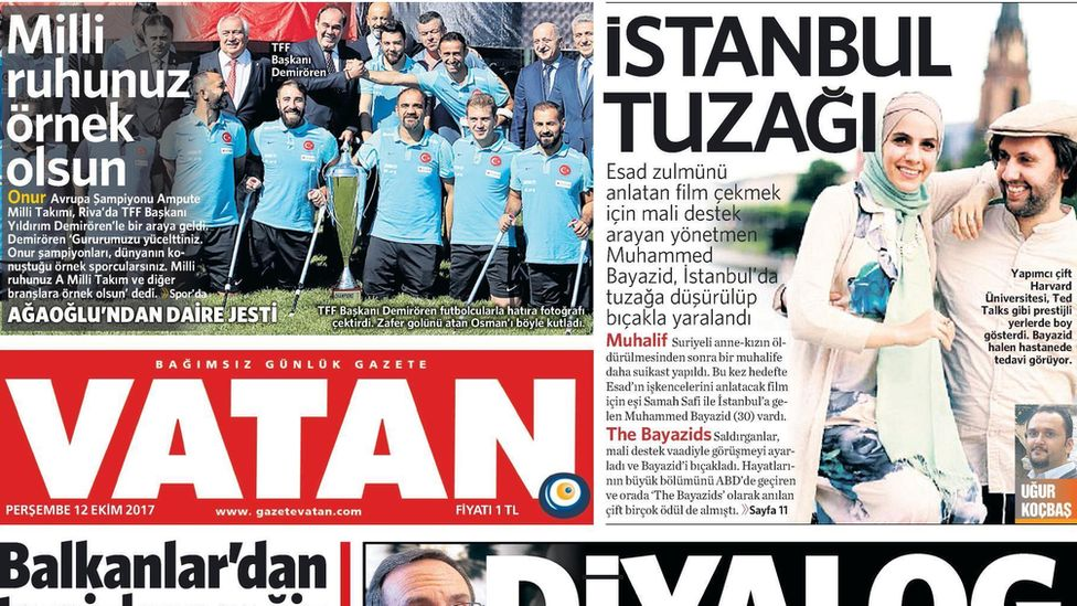 The cover of Turkish newspaper Vatan with Bayazid on the front cover