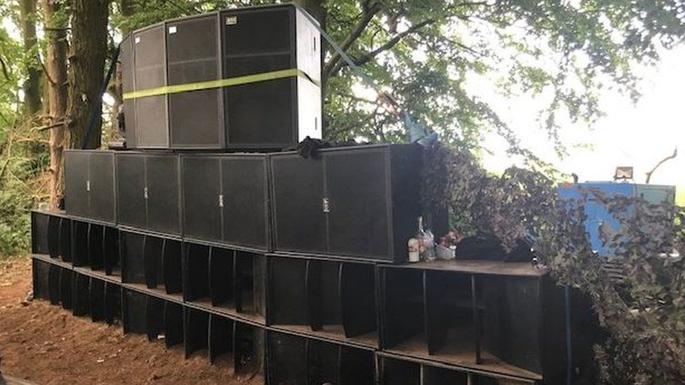 Speakers at rave