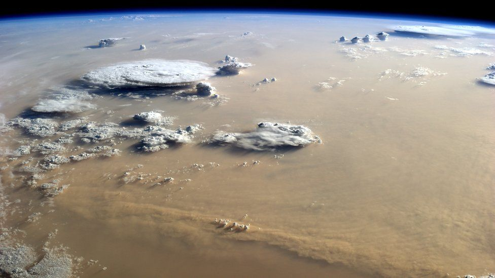 Sandstorms in the Sahara desert, seen from the International Space Station