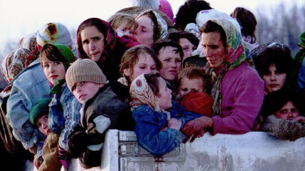 File photo shows refugees from Srebrenica being evacuated