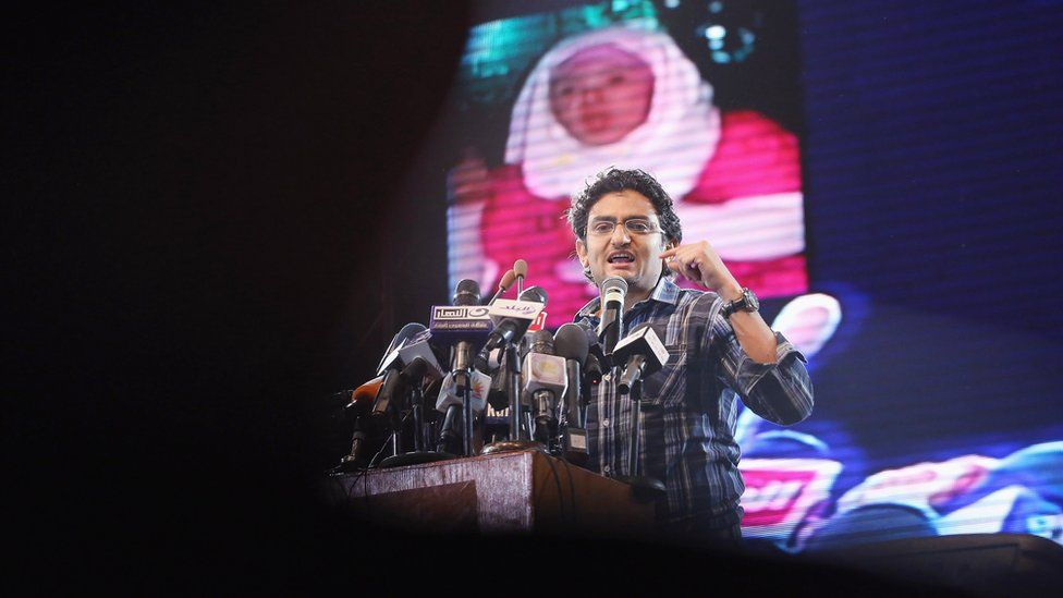 Wael Ghonim speaks at a campaign rally on 18 May 2012 in Cairo, Egypt