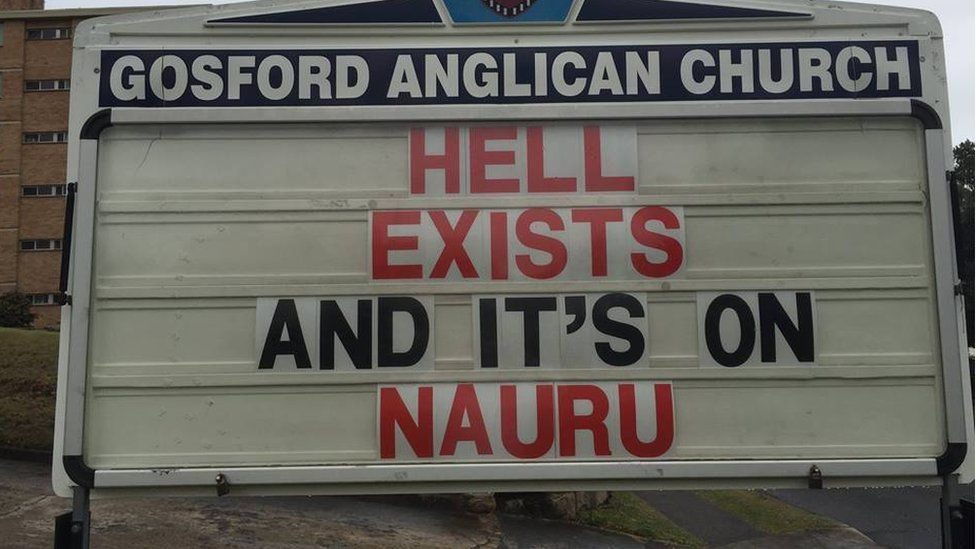 """Gosford Anglican Church billboard reads: """"Hell exists and it's on Nauru'"""