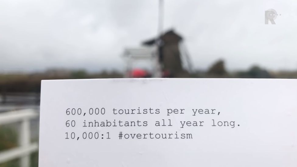 Kinderdijk heritage site card for tourists, Netherlands