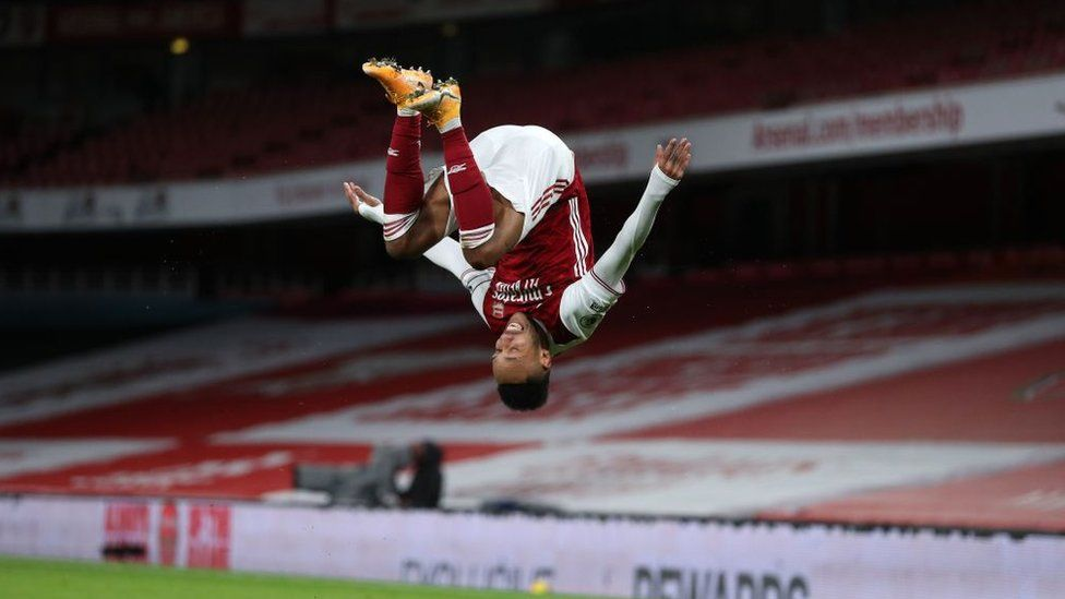 Arsenal's Gabonese striker Pierre-Emerick Aubameyang celebrates scoring the opening goal during the English Premier League football match between Arsenal and Newcastle United at the Emirates Stadium in London on January 18, 2021